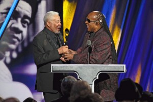 CLEVELAND, OH - APRIL 18:  Stevie Wonder (R) inducts Bill Withers onstage during the 30th Annual Rock And Roll Hall Of Fame Induction Ceremony at Public Hall on April 18, 2015 in Cleveland, Ohio.  (Photo by Kevin Kane/WireImage for Rock and Roll Hall of Fame)