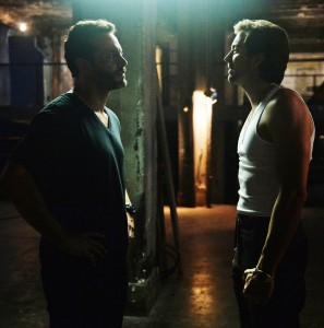 """GRACELAND -- """"Hand of Glory"""" Episode 309 -- Pictured: (l-r) Daniel Sunjata as Paul Briggs, Rhys Coiro as Ari -- (Photo by: Jeff Daly/USA Network)"""
