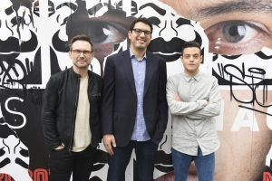 Rami Malek, EP Sam Esmail and Christan Slater; Photo Credit: Vivien Killilea/USA Network
