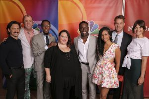 "NBCUNIVERSAL EVENTS -- NBCUniversal Summer Press Tour, August 2, 2016 -- NBC's ""This Is Us"" cast -- Pictured: (l-r) Milo Ventimiglia, Chris Sullivan, Ron Cephas Jones, Chrissy Metz, Sterling K. Brown, Susan Kelechi Watson, Justin Hartley, Mandy Moore -- (Photo by: Chris Haston/NBCUniversal)"