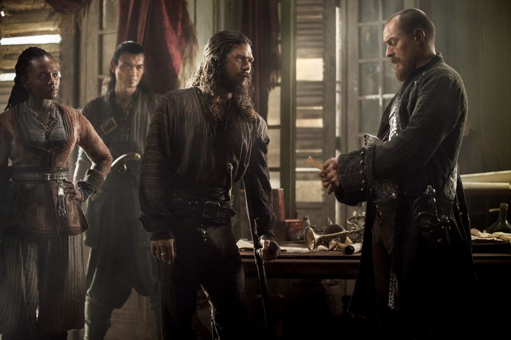 Black sails season 4 episode 4 madi silver flint zethu dlomo luke arnold toby stephens 1024x683