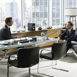 "SUITS -- ""Skin In the Game"" Episode 701 -- Pictured: (l-r) Gabriel Macht as Harvey Specter, Patrick J. Adams as Mike Ross -- (Photo by: Ian Watson/USA Network)"