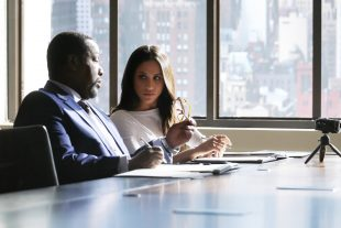 "SUITS -- ""Shame"" Episode 709 -- Pictured: (l-r) Wendell Pierce as Robert Zane, Meghan Markle as Rachel Zane -- (Photo by: Ian Watson/USA Network)"