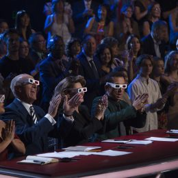"""DANCING WITH THE STARS - """"Episode 2506"""" - The nine remaining couples set their sights on the glitz and glamor of Tinseltown as they dance to celebrate """"A Night at the Movies,"""" on """"Dancing with the Stars,"""" live, MONDAY, OCTOBER 23 (8:00-10:01 p.m. EDT), on The ABC Television Network. (ABC/Eric McCandless) CARRIE ANN INABA, LEN GOODMAN, SHANIA TWAIN, BRUNO TONIOLI"""