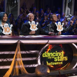 """DANCING WITH THE STARS - """"Episode 2507"""" - The eight remaining couples have spent the week learning all of the bloodcurdling tricks that it will take to treat the viewers to some terrifyingly fun dances, as Halloween Night comes to """"Dancing with the Stars,"""" live, MONDAY, OCTOBER 30 (8:00-10:01 p.m. EDT), on The ABC Television Network. (ABC/Eric McCandless) CARRIE ANN INABA, LEN GOODMAN, BRUNO TONIOLI"""